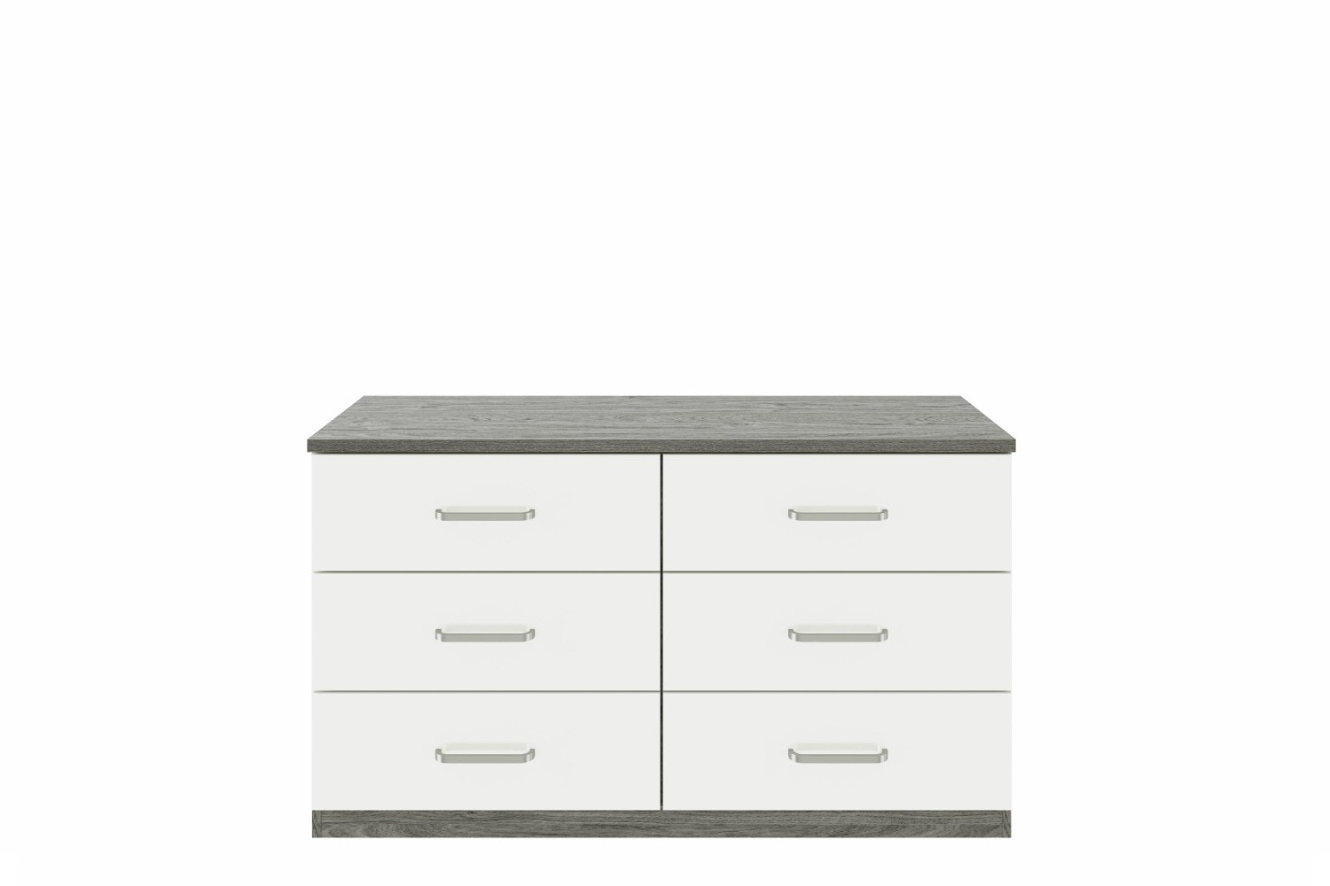 Gianna Chest | 6 Drawers | Grey Oak & White Gloss
