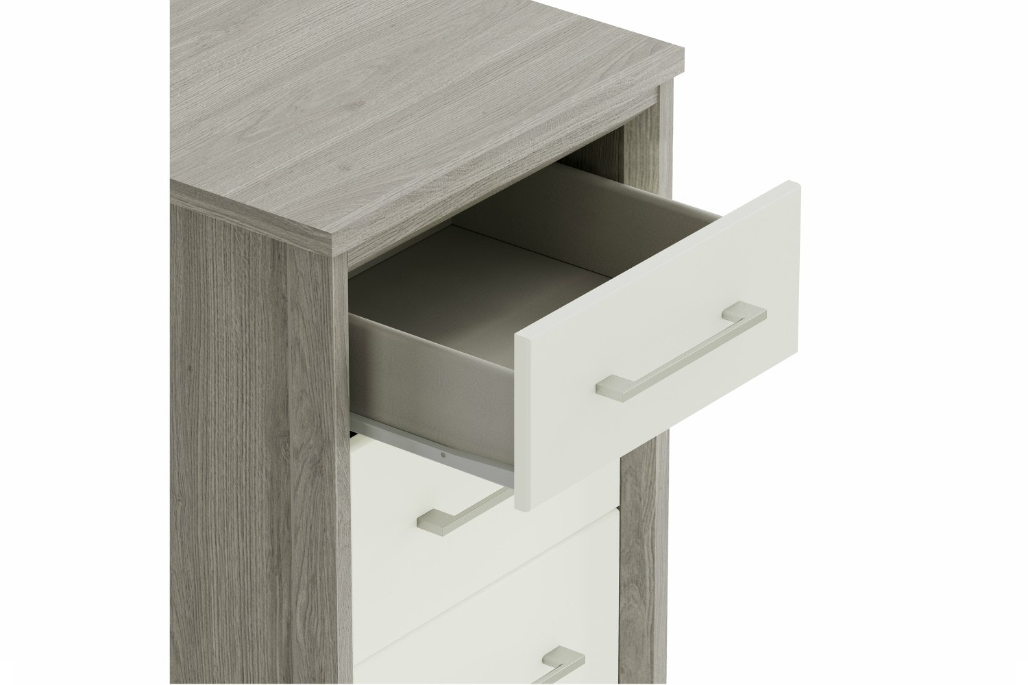 Niko Chest | 5 Drawers | Washed Oak/White