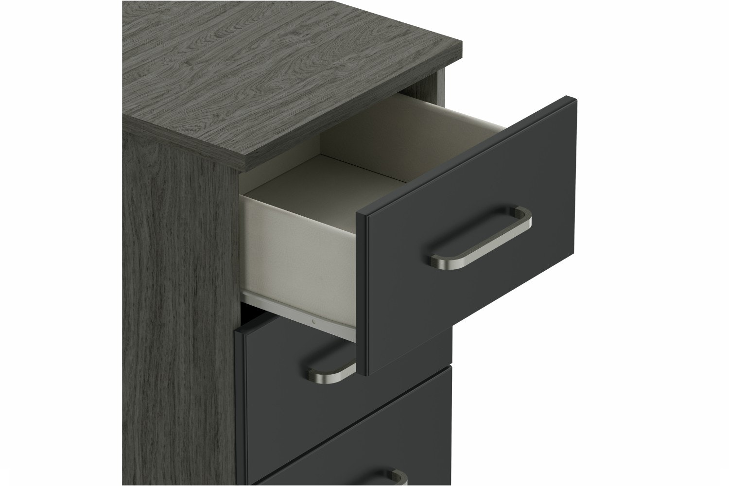 Ember Bedside | 3 Drawers | Grey Oak/Graphite