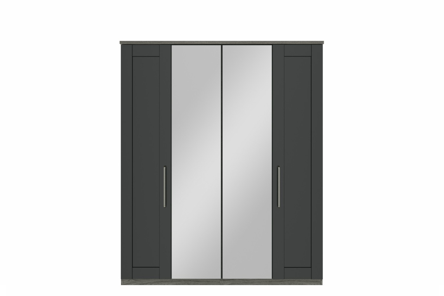 Ember Wardrobe | 4 Doors | Centre Mirror | Grey Oak/Graphite