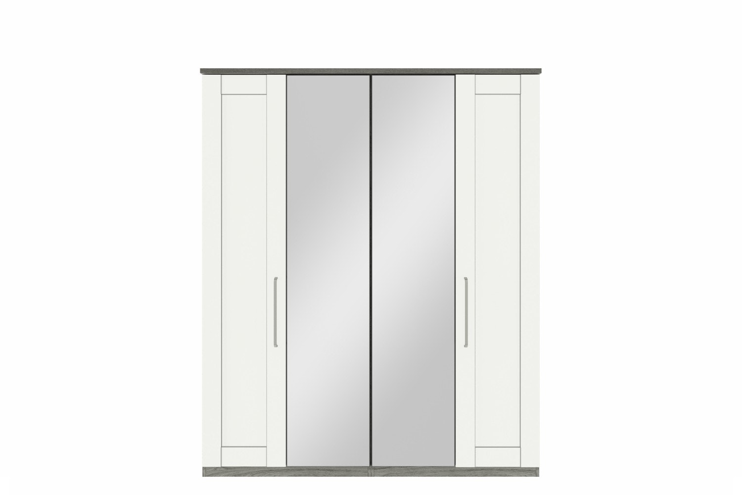 Ember Wardrobe | 4 Doors | Centre Mirror | Oak/White