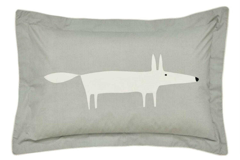 Mr Fox Oxford Pillow Case | Silver