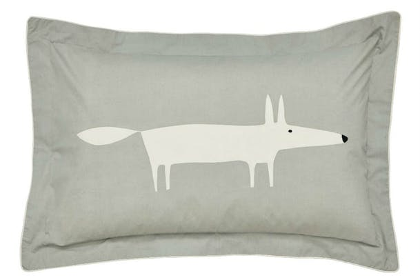 Mr Fox Oxford Pillow Case | Silver