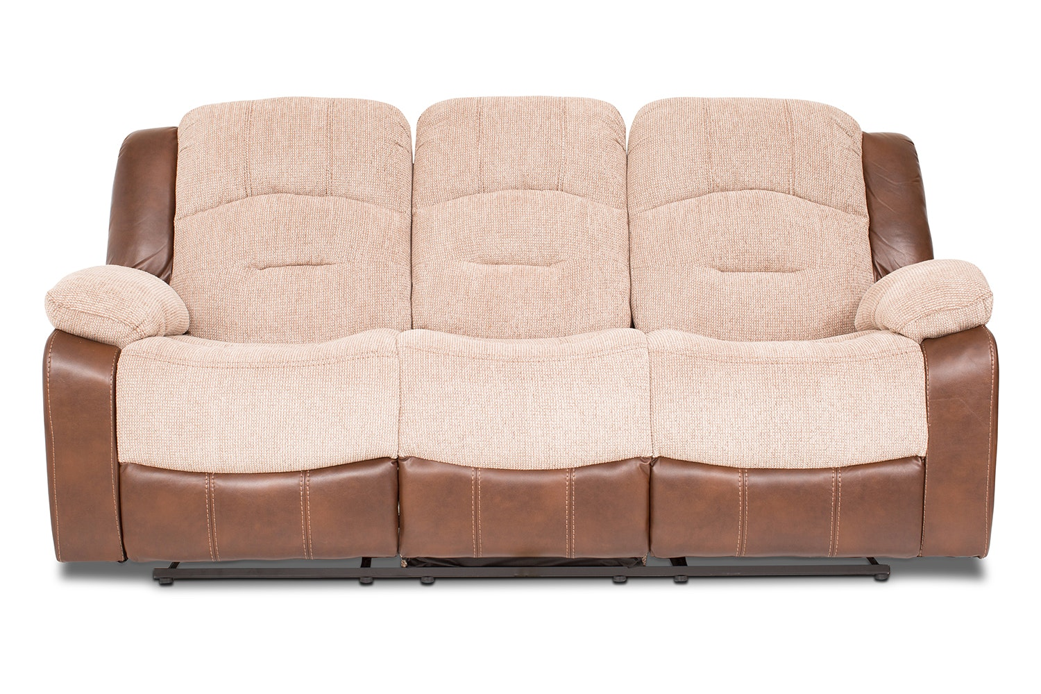 Mason 3 Seater Recliner | Tan & Beige