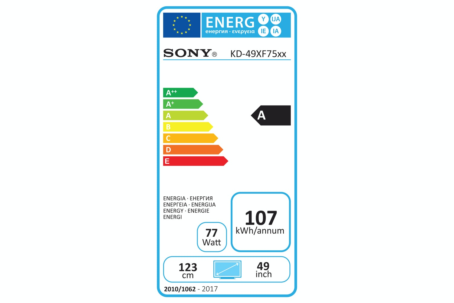 """Sony KD49XF7596 49"""" 4K HDR Ultra HD Smart TV with Voice Remote 