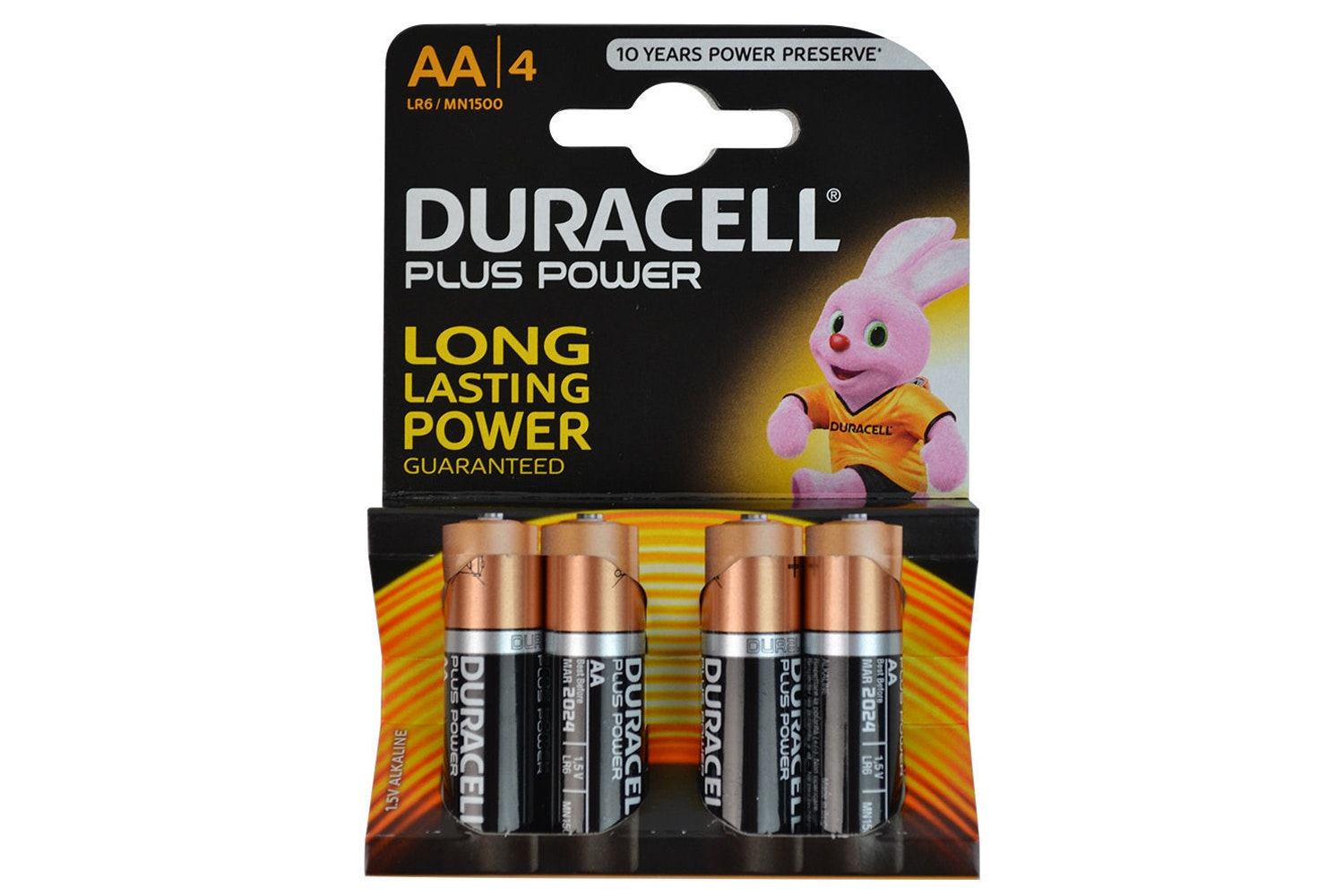 Duracell Plus Power AA Alkaline Battery | 4 Pack