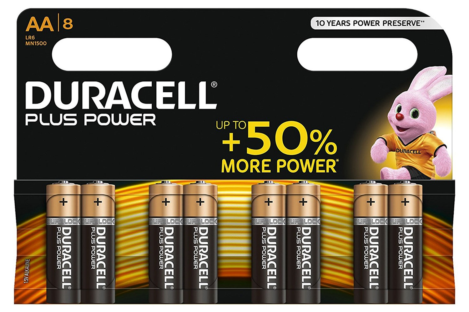 Duracell Plus Power AA Alkaline Battery | 8 Pack