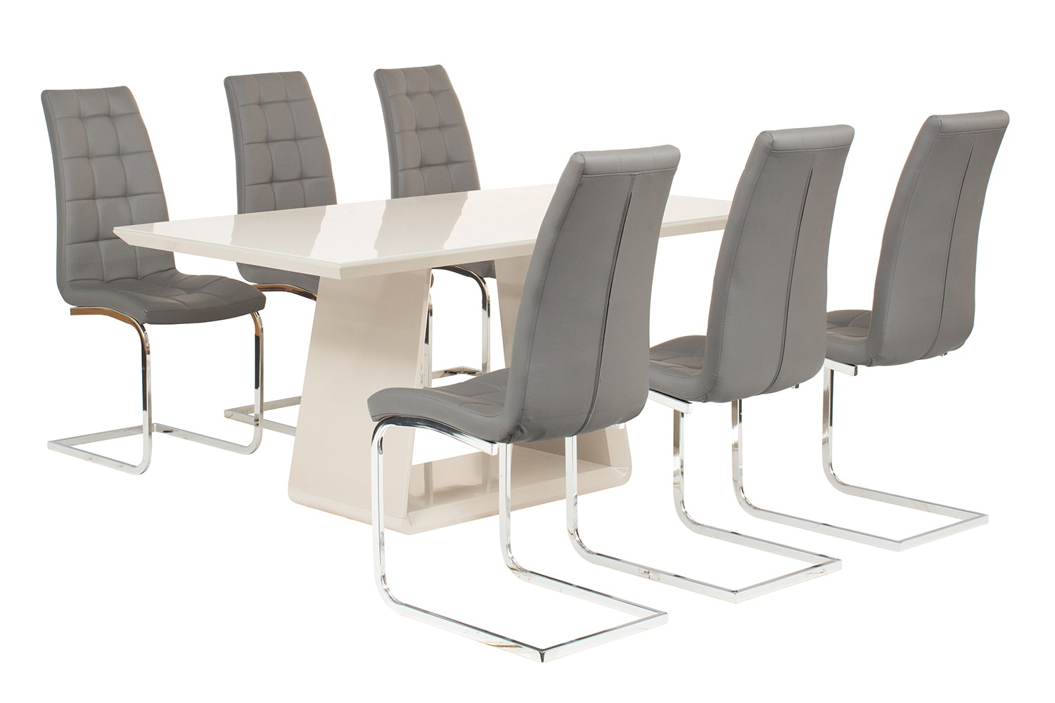 Cara 7 Piece Set With Elise Chair | Grey