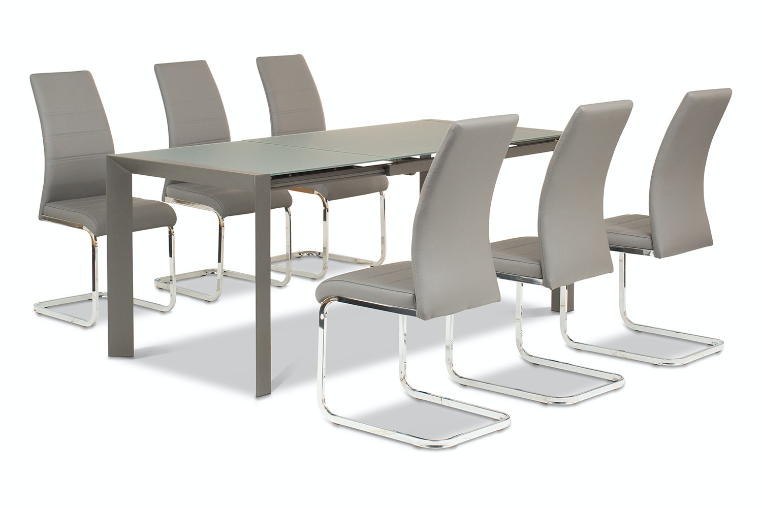 Slide 7 Piece Set With Dawson Chairs | Grey