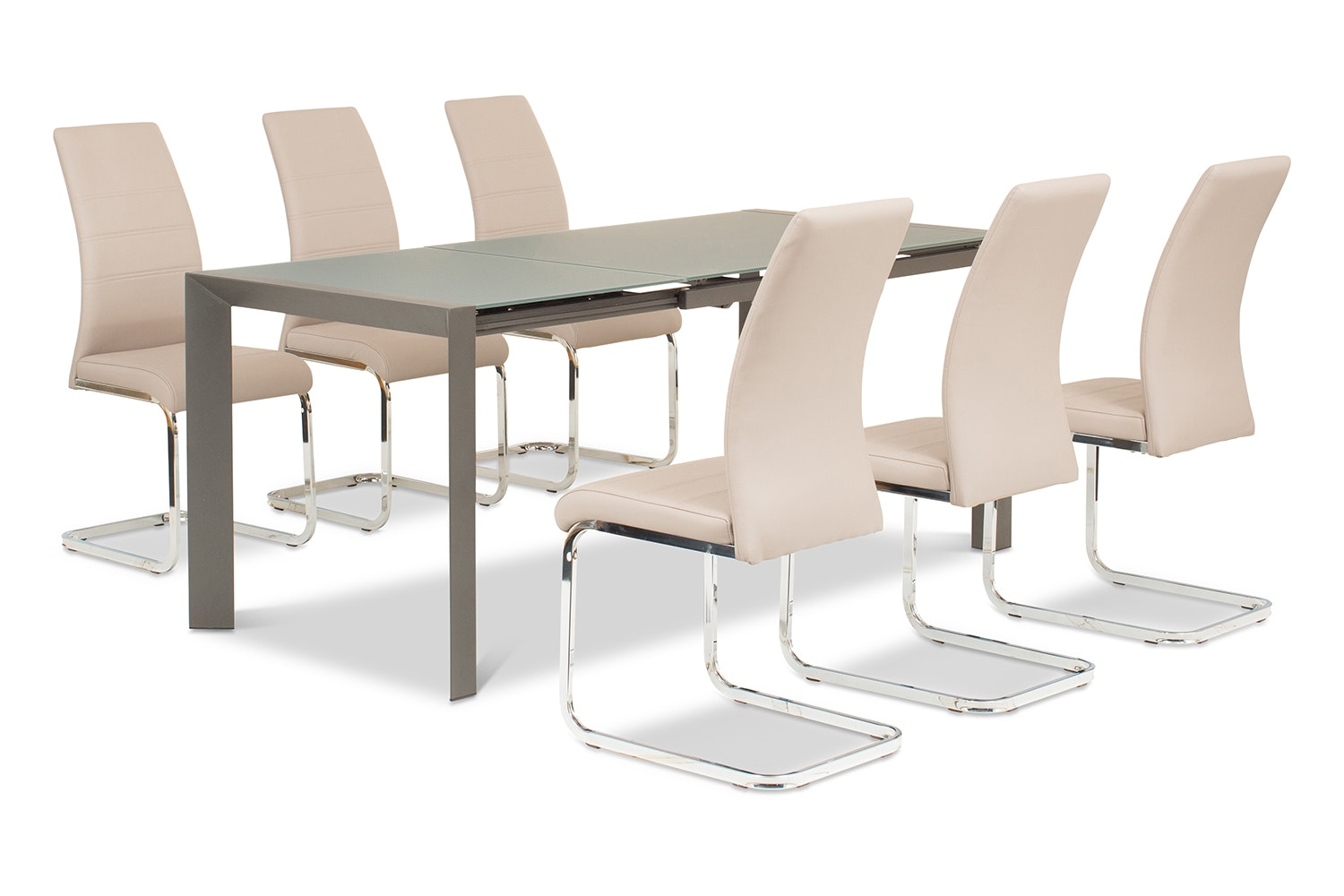 Slide 7 Piece Set Grey Table With Dawson Chairs | Taupe
