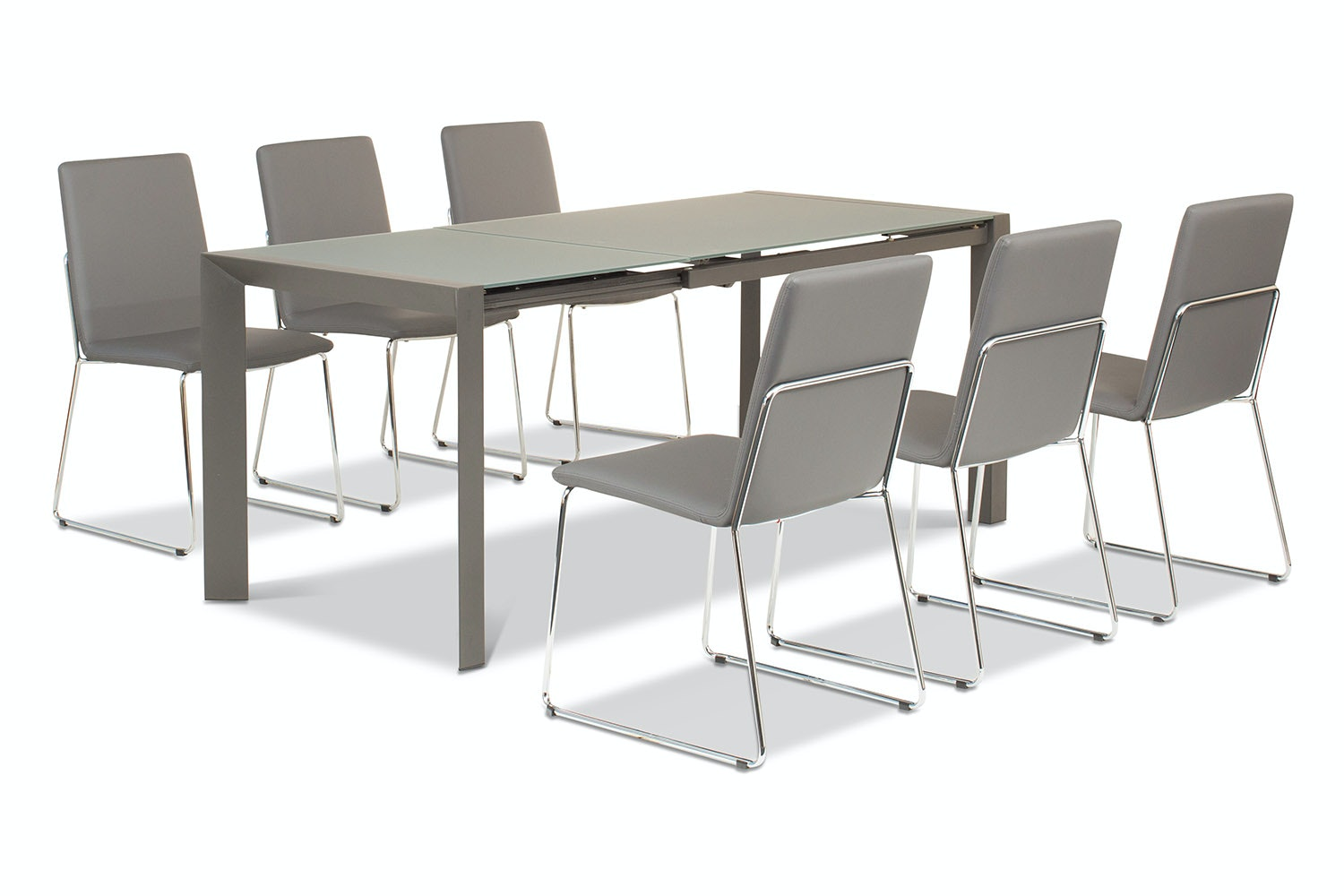 Slide 7 Piece Set With Luna Chairs | Grey