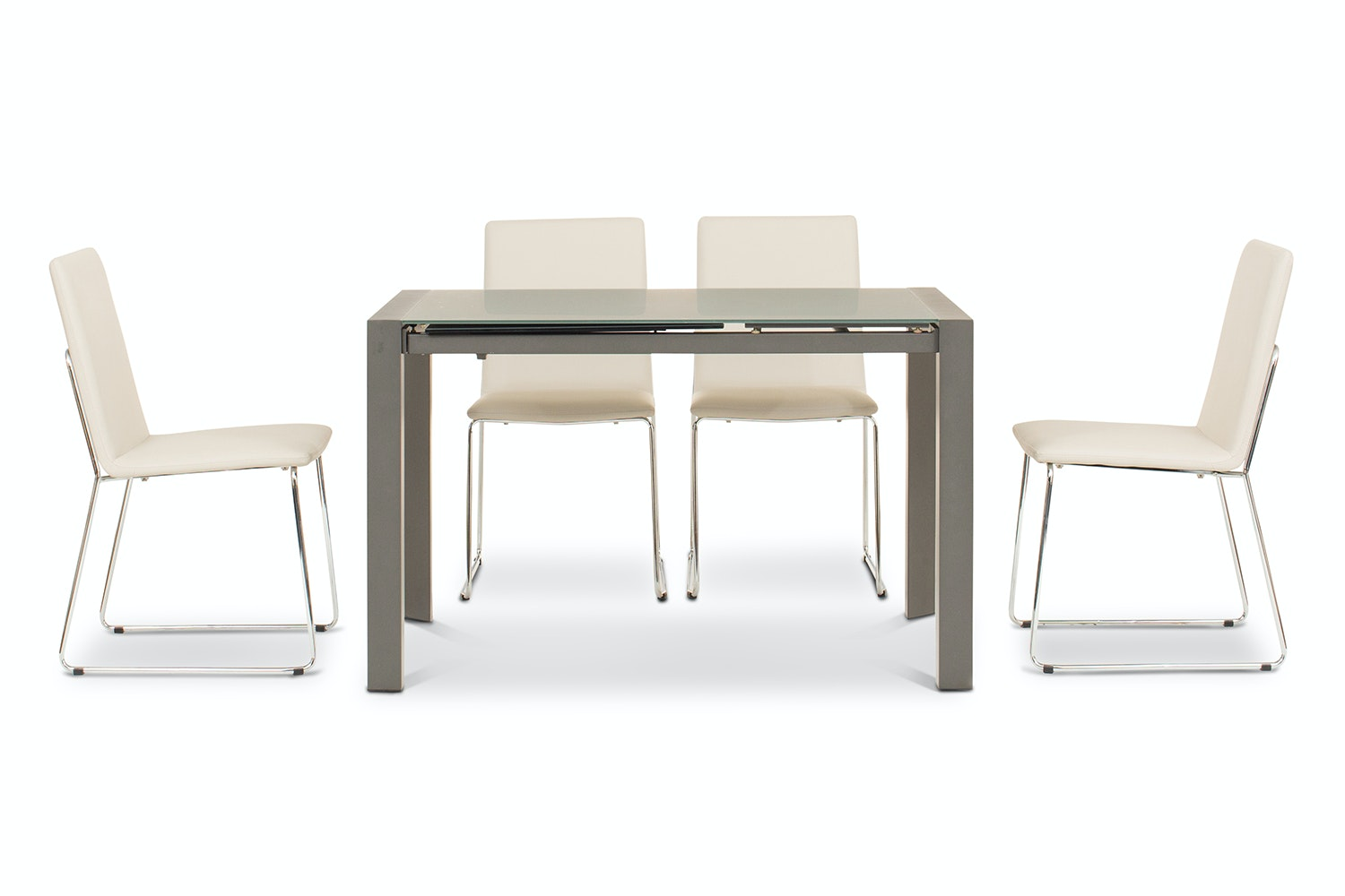 Slide 5 Piece Set Grey Table With Luna Chairs | Taupe