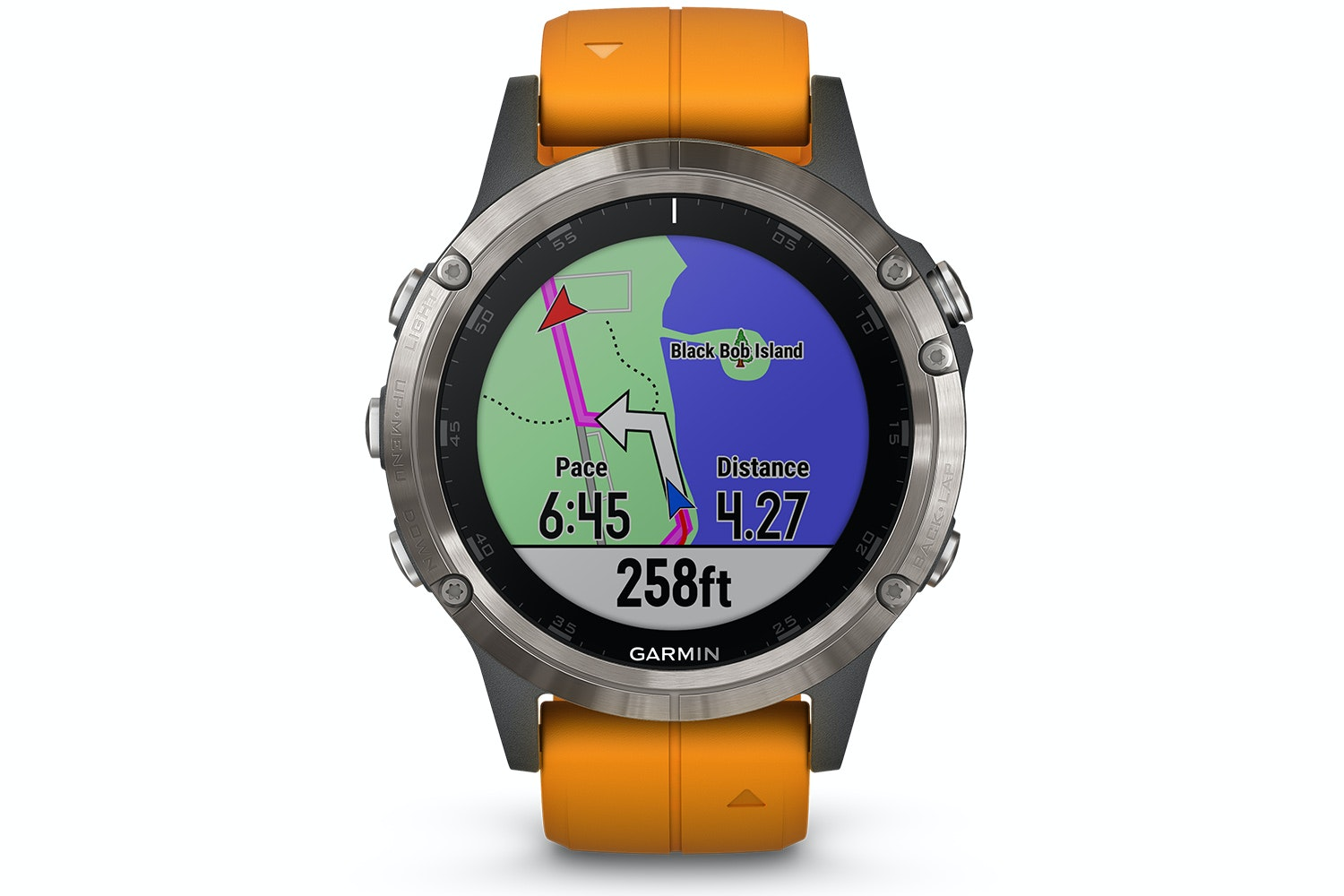 Garmin fenix 5 Plus Sapphire Titanium with Solar Flare Orange Band
