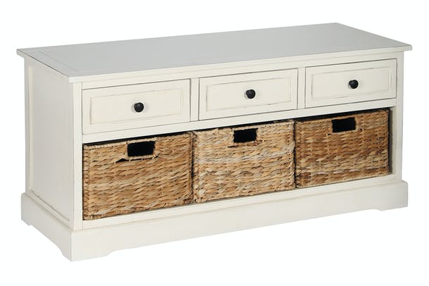 Pacific 3 Drawer 3 Basket Chest | Cream