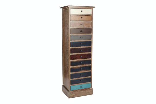 Pacific 13 Drawer Chest | Tall Narrow | Drift Wood