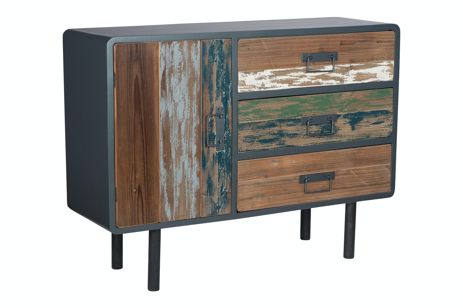Pacific Chest | 3 Drawer 1 Door | Black Metal & Multi