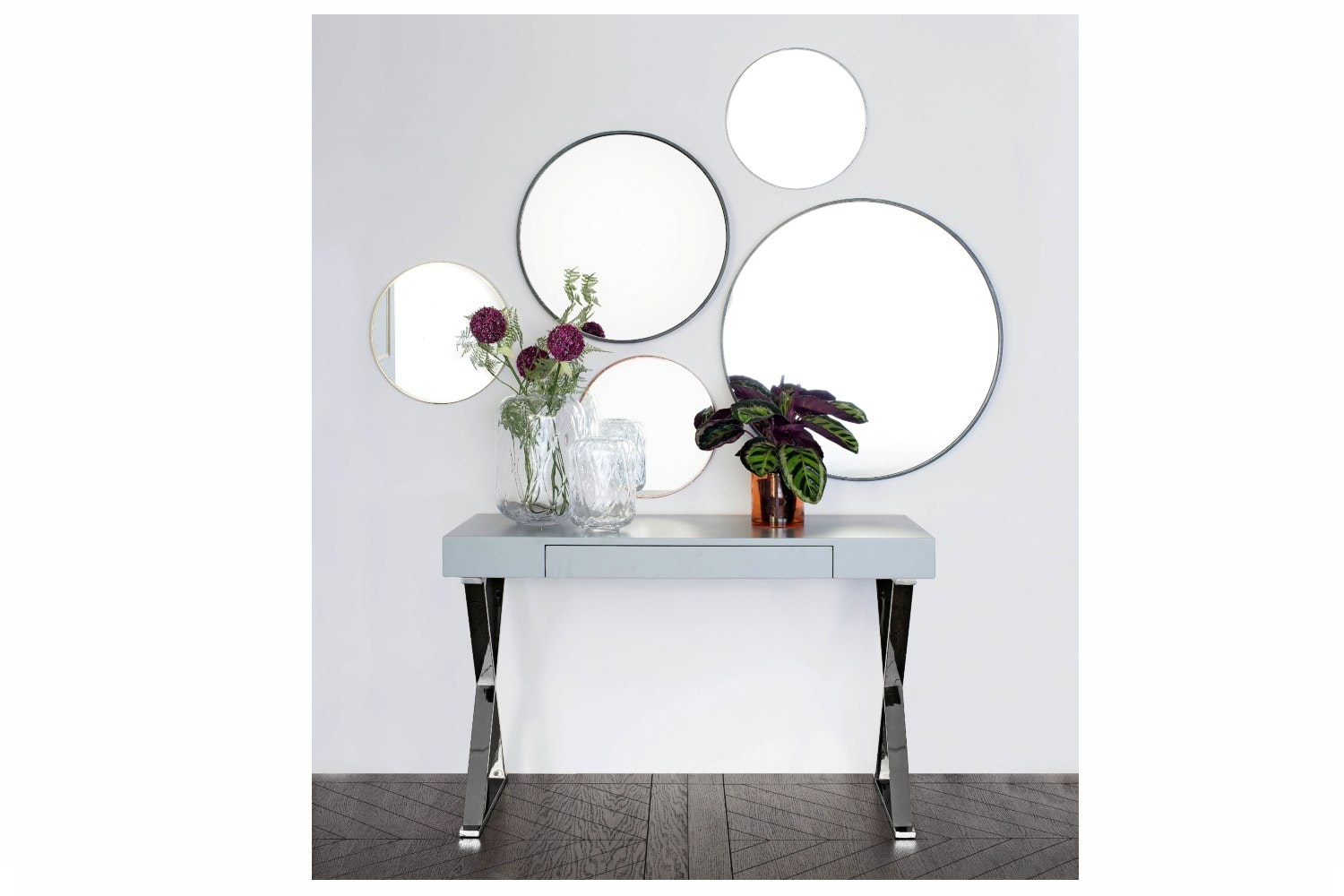 Round Mirror Dark Brown Wood | Small