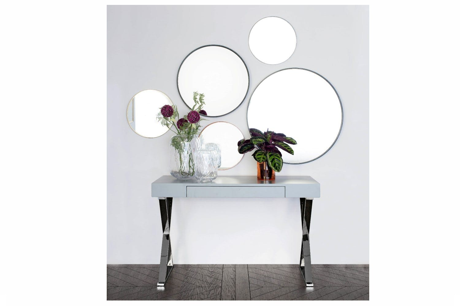 062af878be00 ... Small Round Mirror in Metal Frame