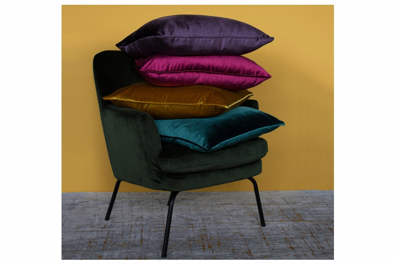 Velvet Piped Mulberry Cushion | 43X43cm