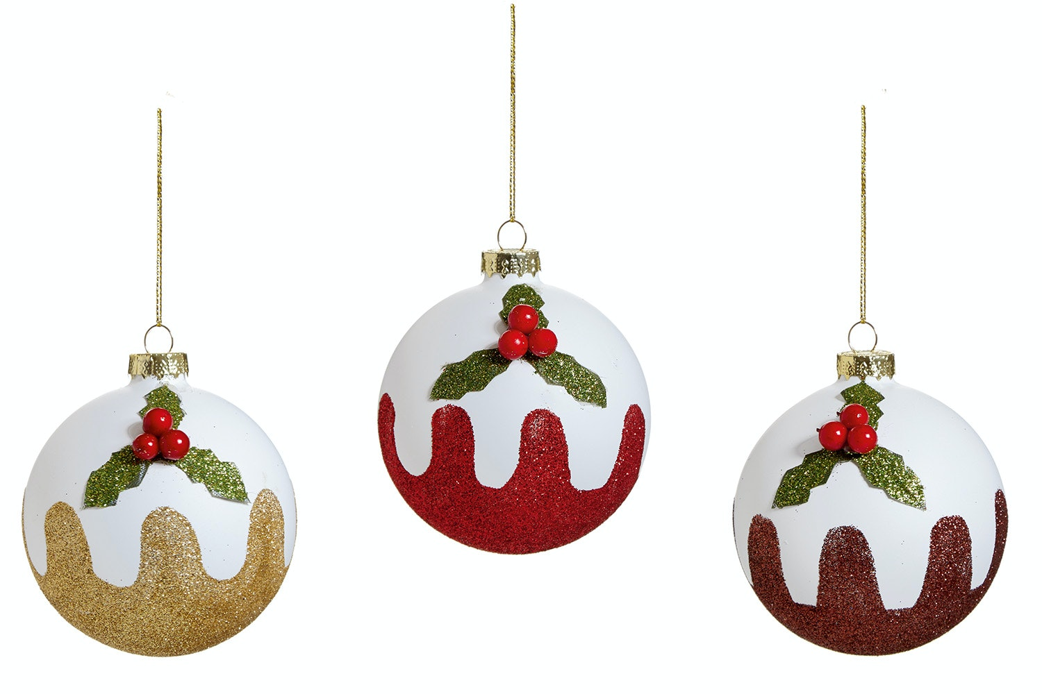 Glitter Pudding Christmas Decoration