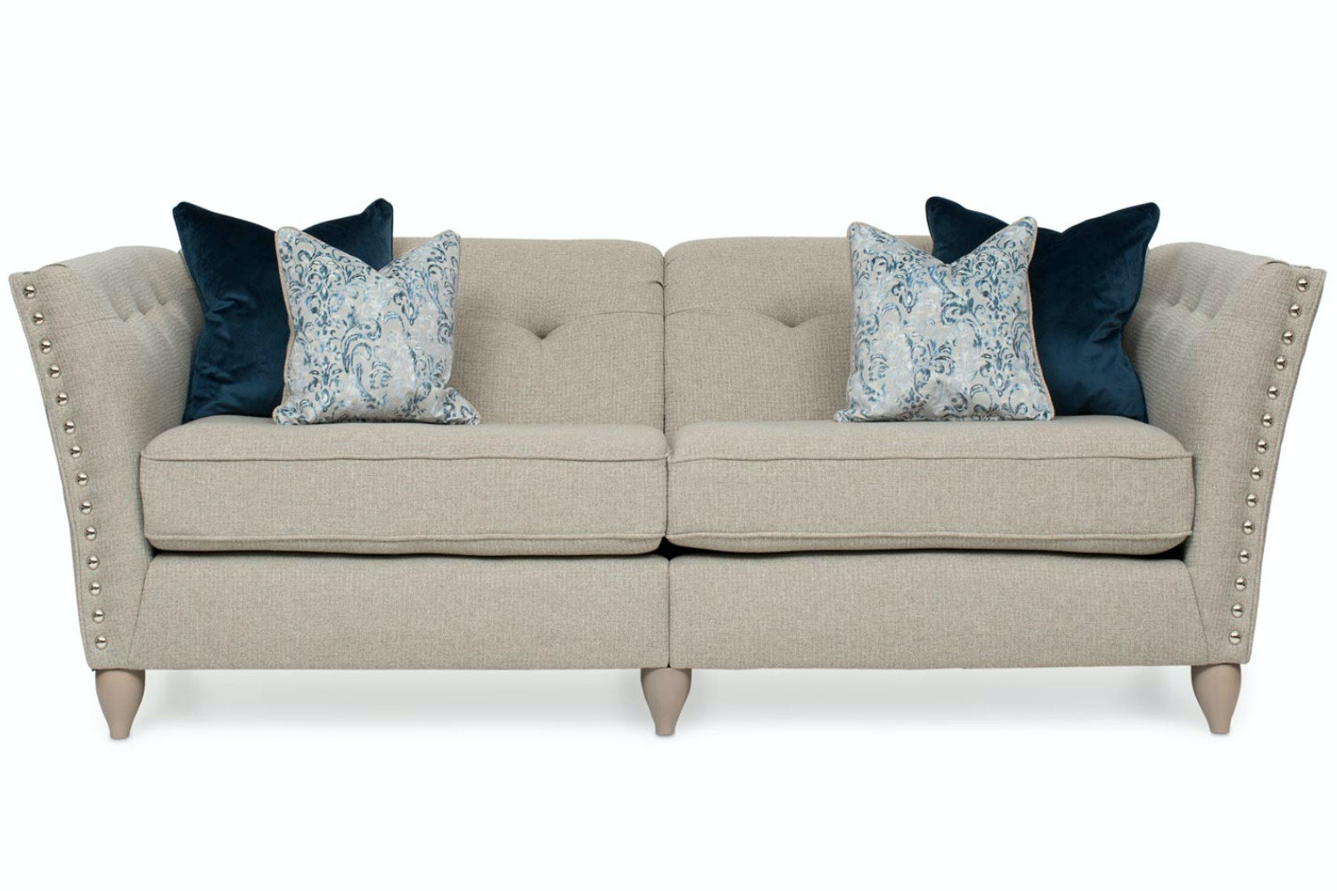 Simba Studded 4 Seater Split Sofa
