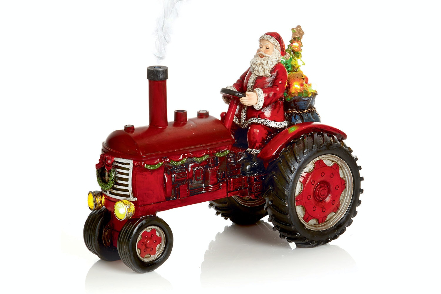 Lit Tractor With Santa