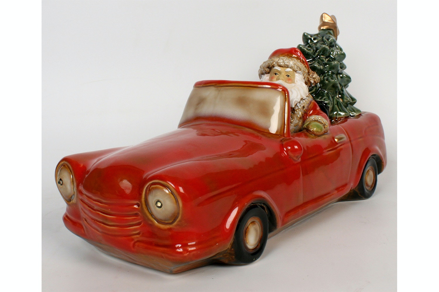Red Car With Santa And Tree With Led Light