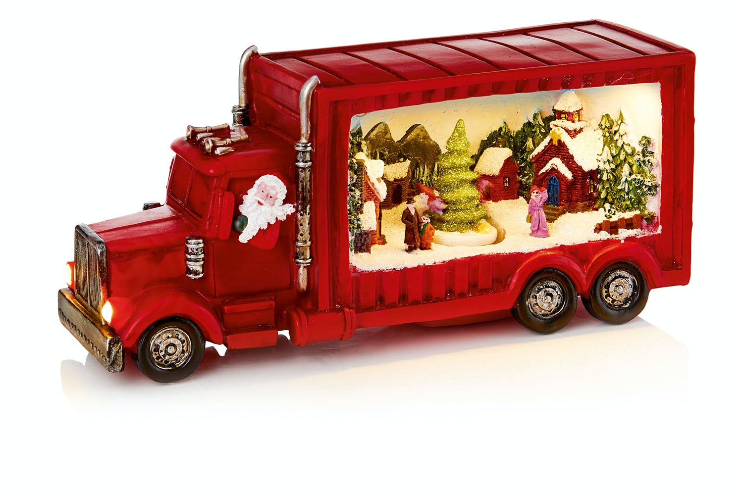 Red Truck With Christmas Tree Scene
