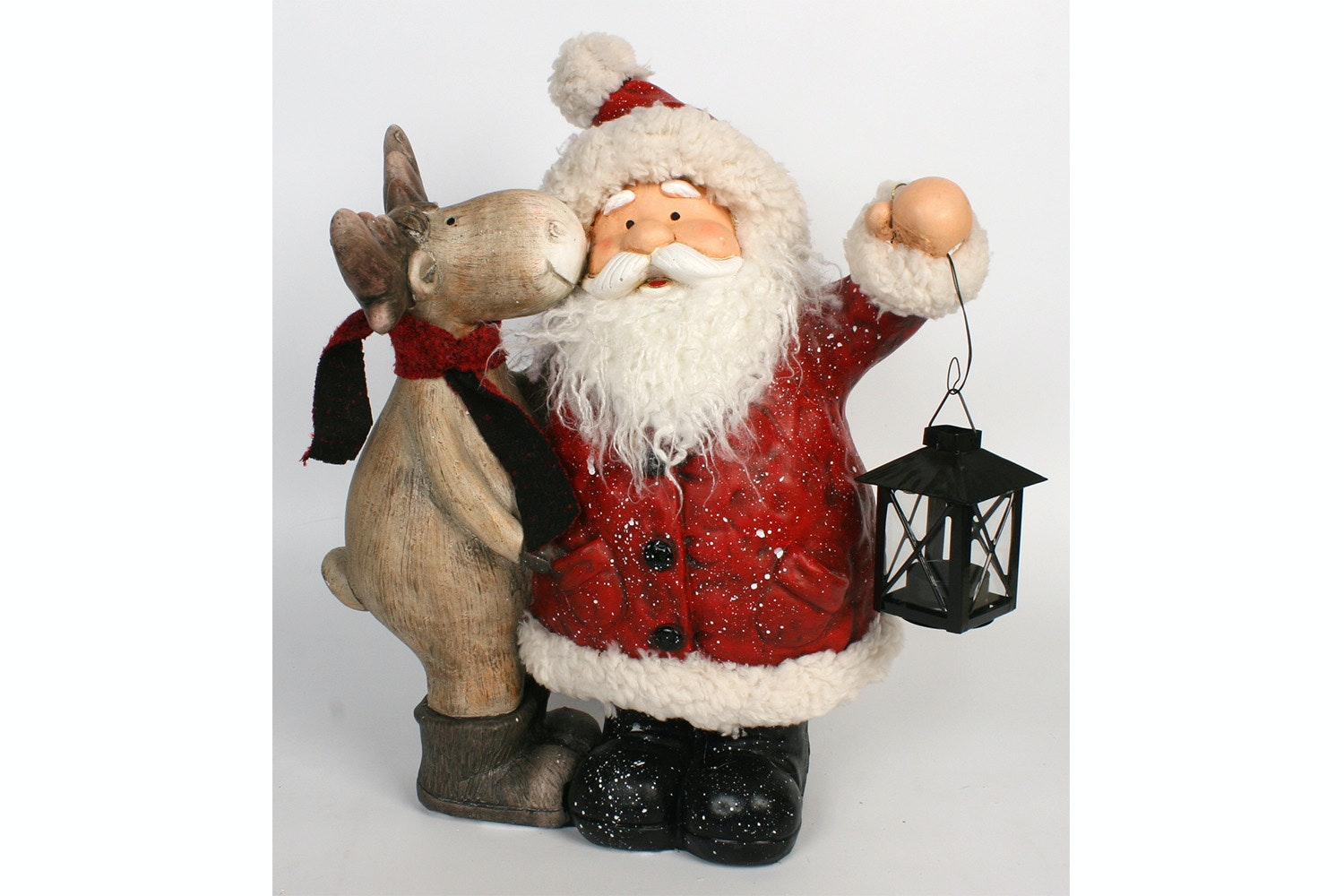 Santa And Deer Friend With Lantern