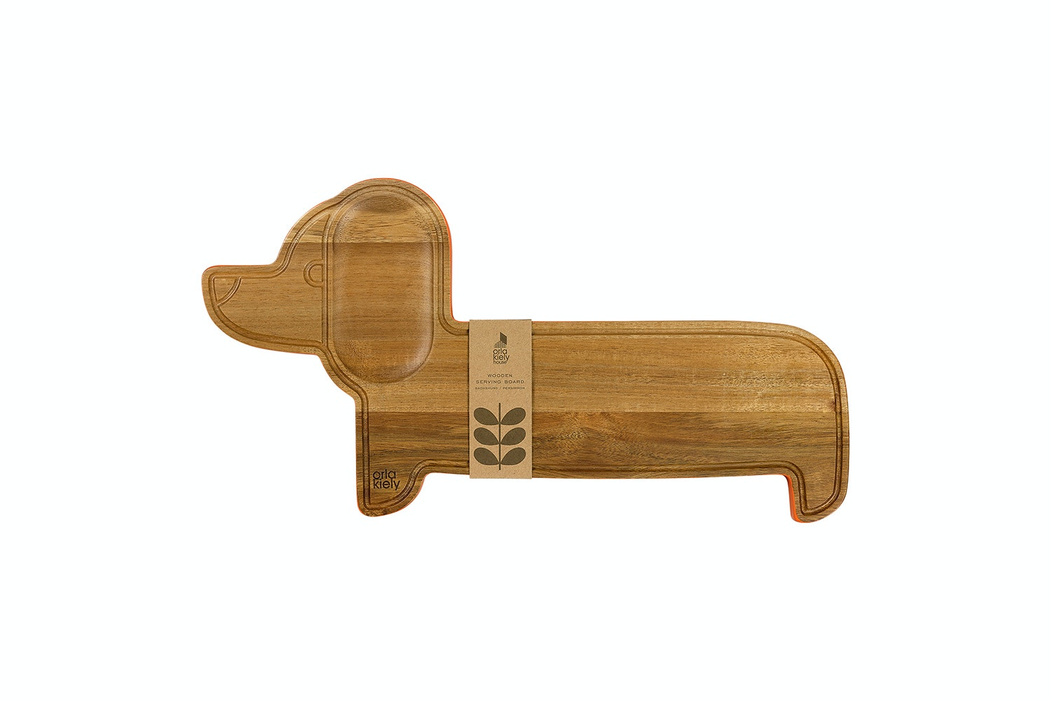 Wooden Serving Board Dachshund Persimmon