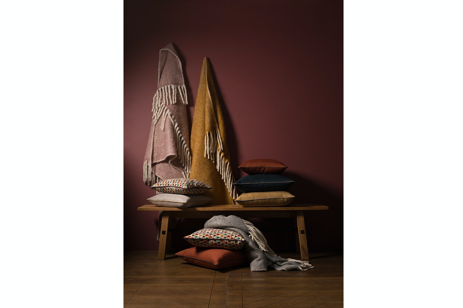 Tweedmill Illusion Panel Throw 150 X 183cm | Coral