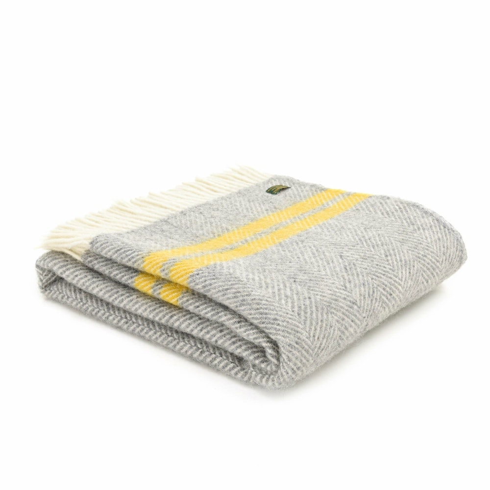 Fishbone Throw | Grey/Yellow