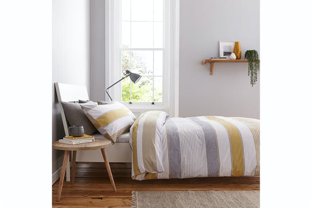 Newquay Stripe Duvet Cover Set | Ochre | Single