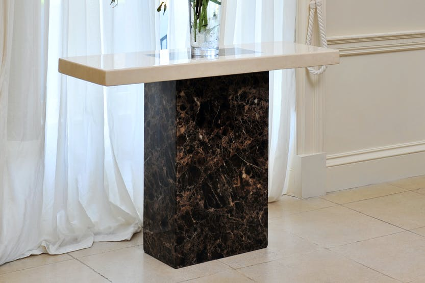 Strasbourg Console Table|Marble | Cream & Brown