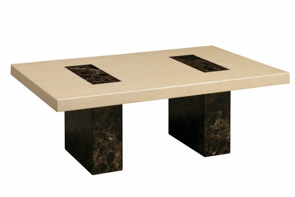 Strasbourg Coffee Table| Marble | Cream & Brown