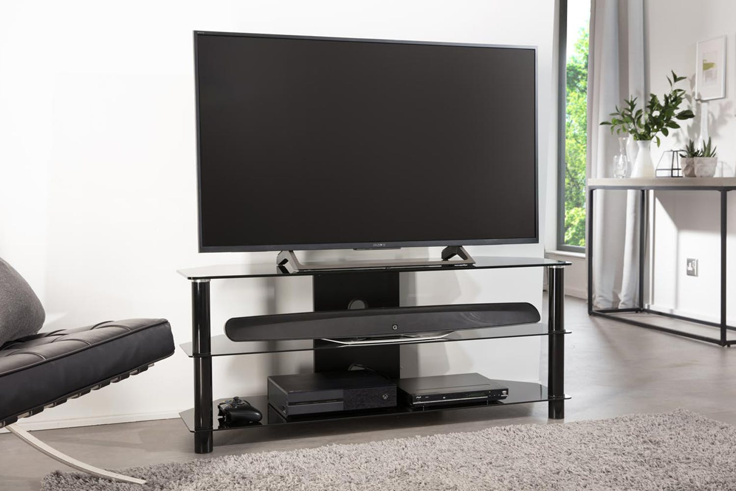 Alphason Essential 1200mm 3 Shelf TV Stand | Black