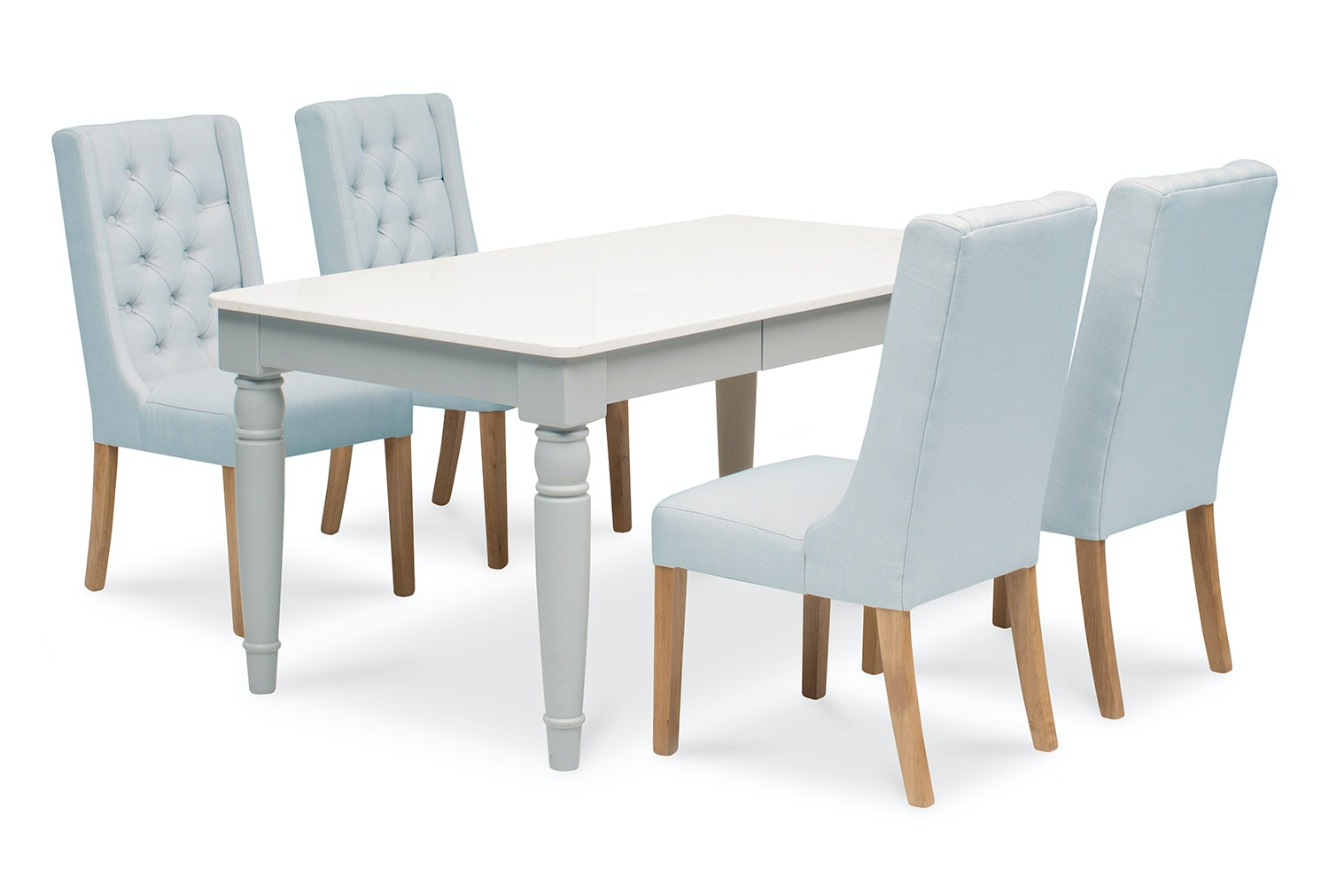 Carlow 5 Piece Dining Set With Elsa Chair | Blue
