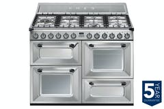 Smeg 110cm Victoria Aesthetic Dual Fuel Range Cooker | Stainless Steel