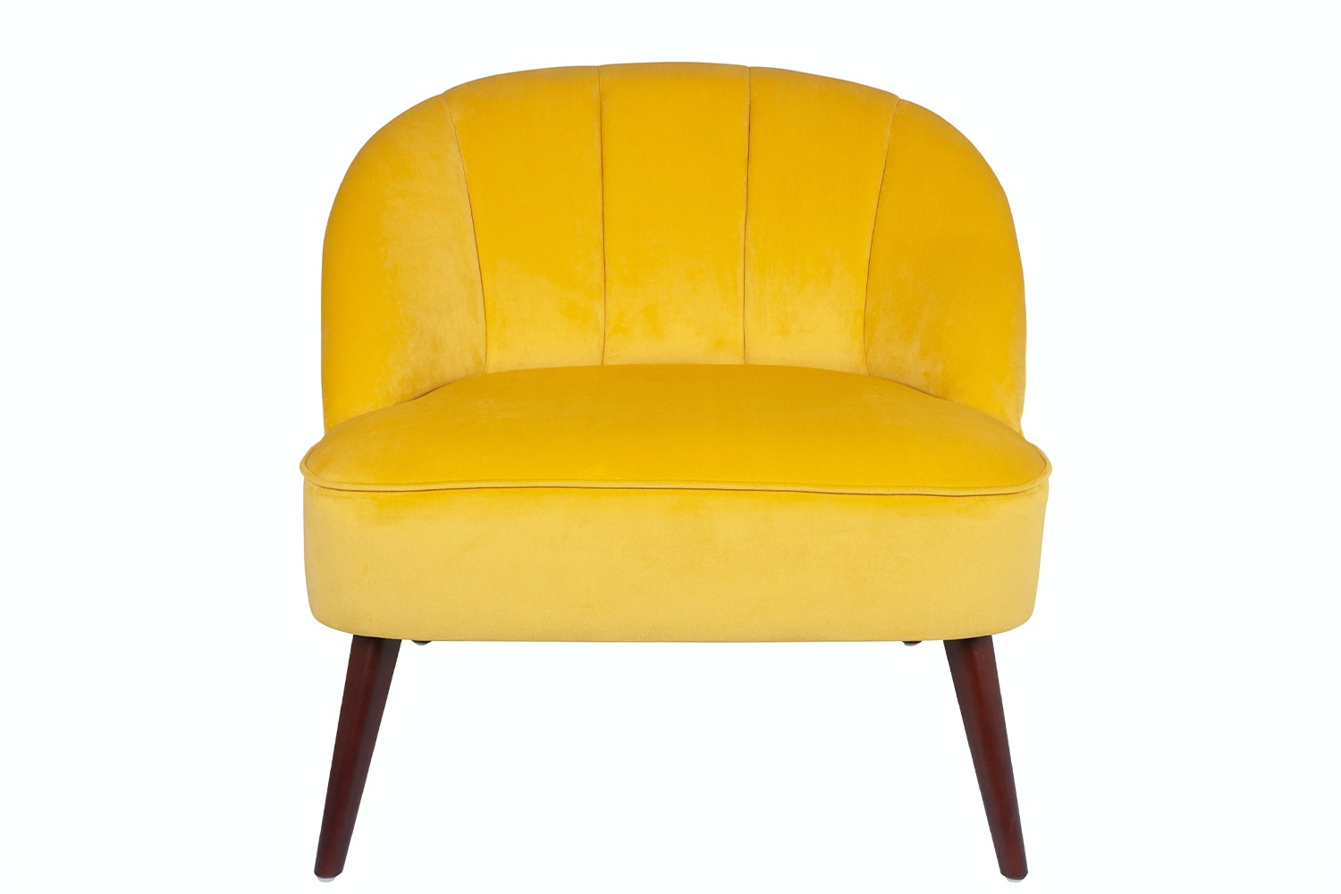 Velvet Chair | Mustard | Walnut Effect Legs