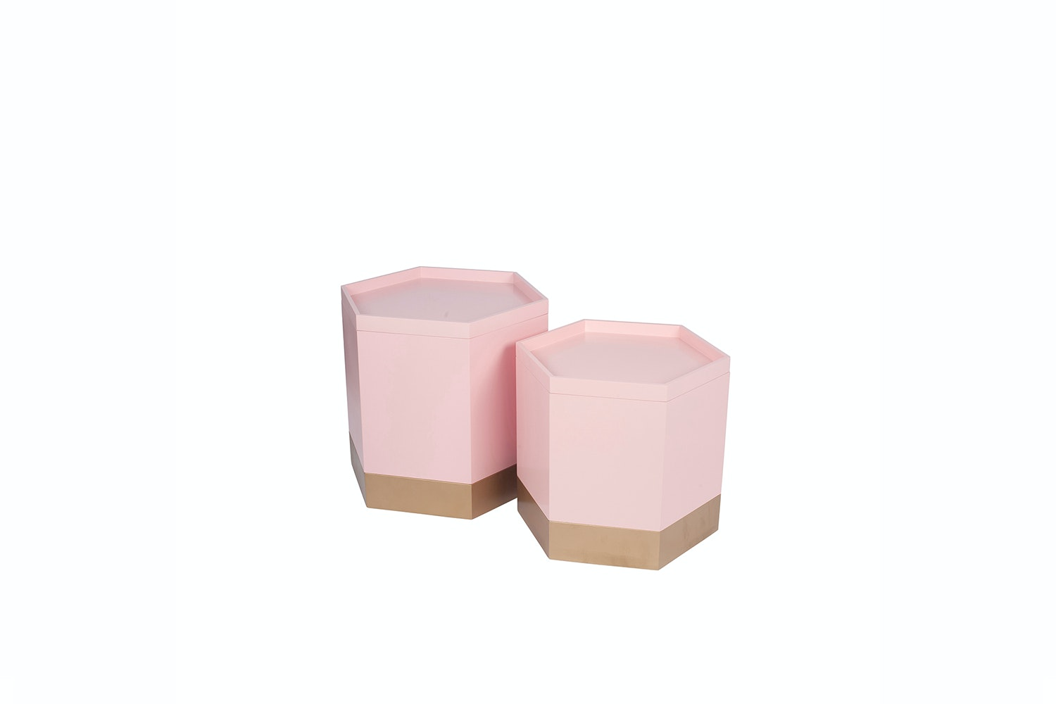 Set of 2 Hexagon Storage Boxes | Pink & Gold