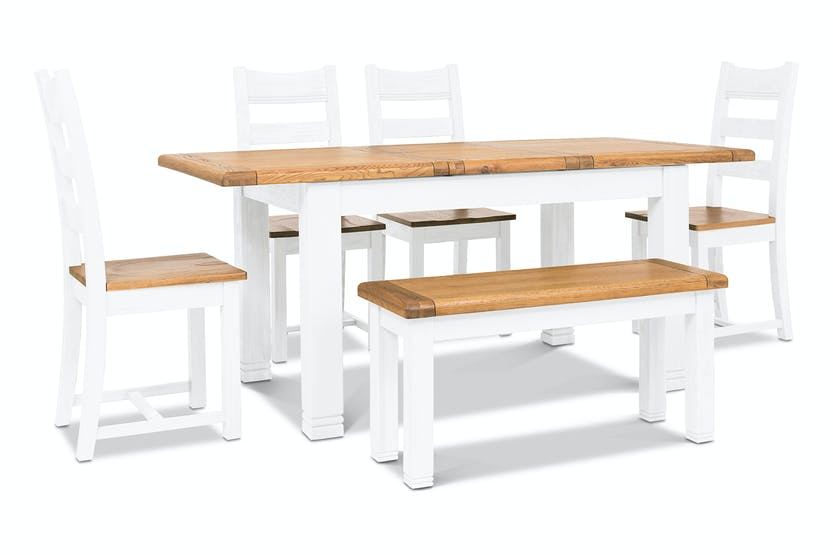 Dawn Dining Set with Bench | 6 Piece | White