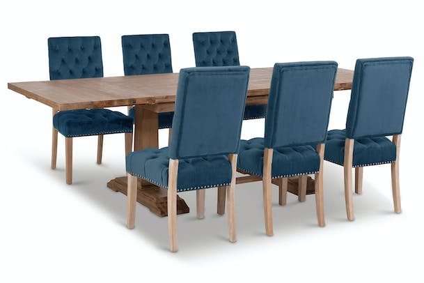 Larrisa 7 Piece Dining Set With April Chair | Blue