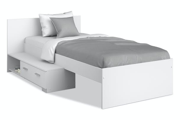 Galaxy Bed Frame | Drawer | White
