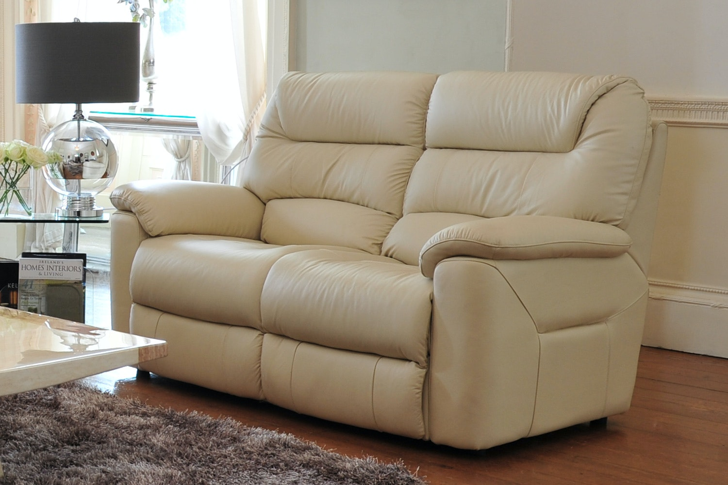 Manhattan 2 Seater Power Recline Leather Sofa