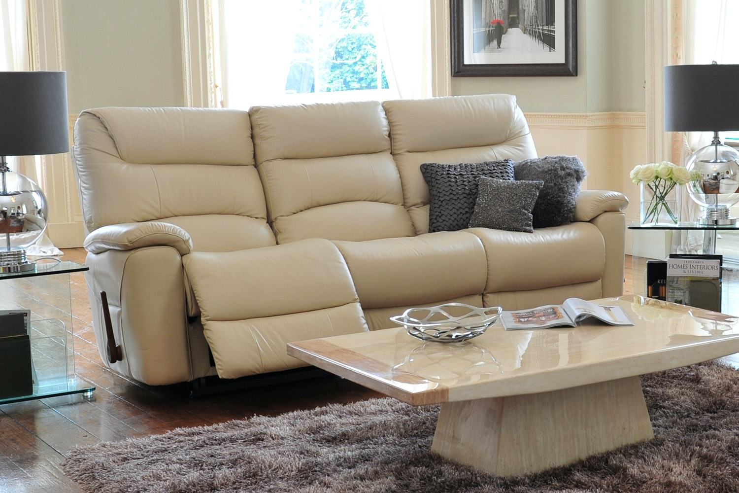 Manhattan 3 Seater Leather Sofa with Power Recliner