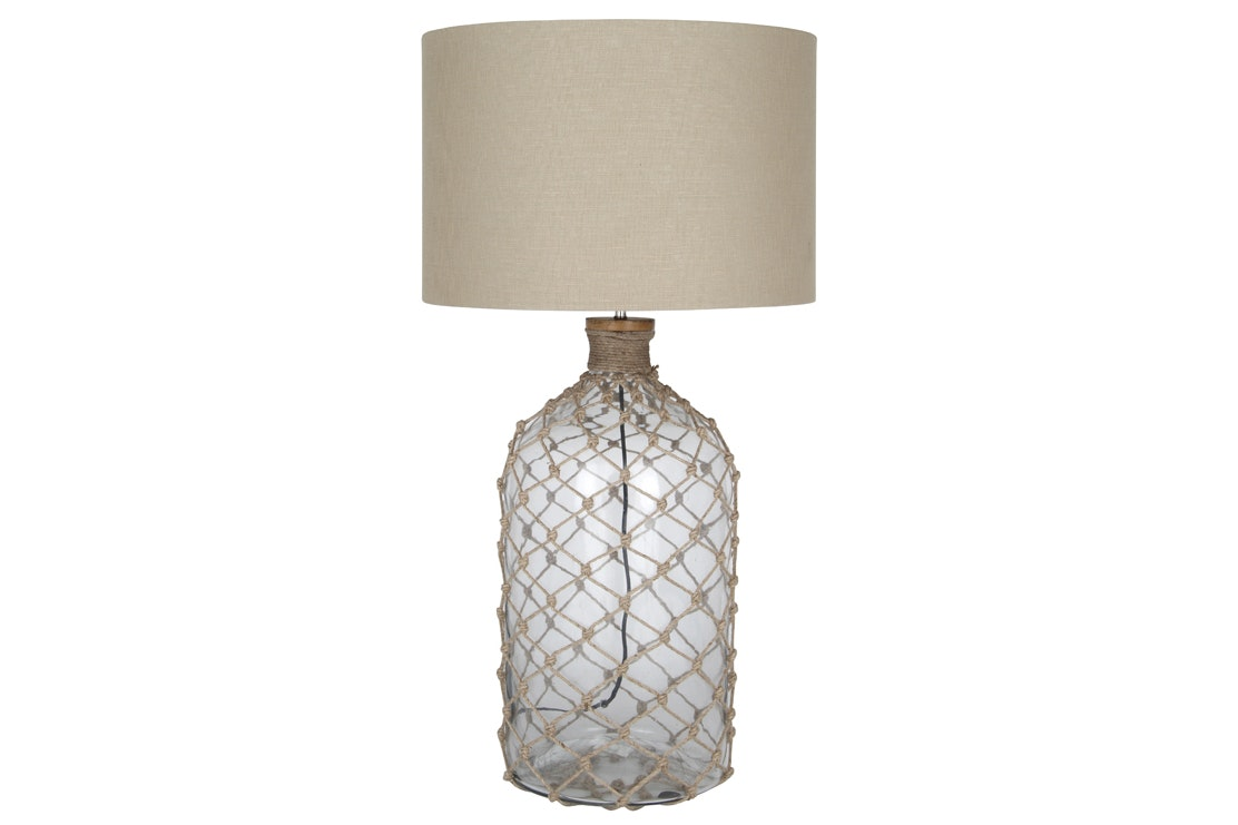 Glass Table Lamp with Netting Detail