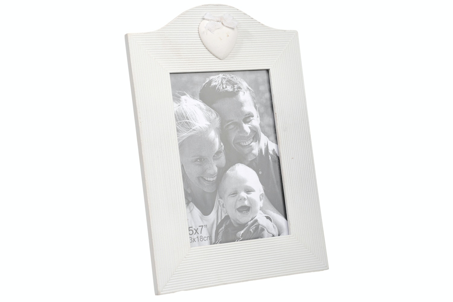 White Heart Photo Frame 5x7