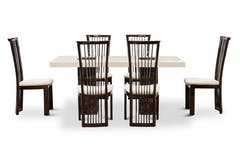 Strasbourg Dining Set | 7 Piece | Marble | Cream & Brown