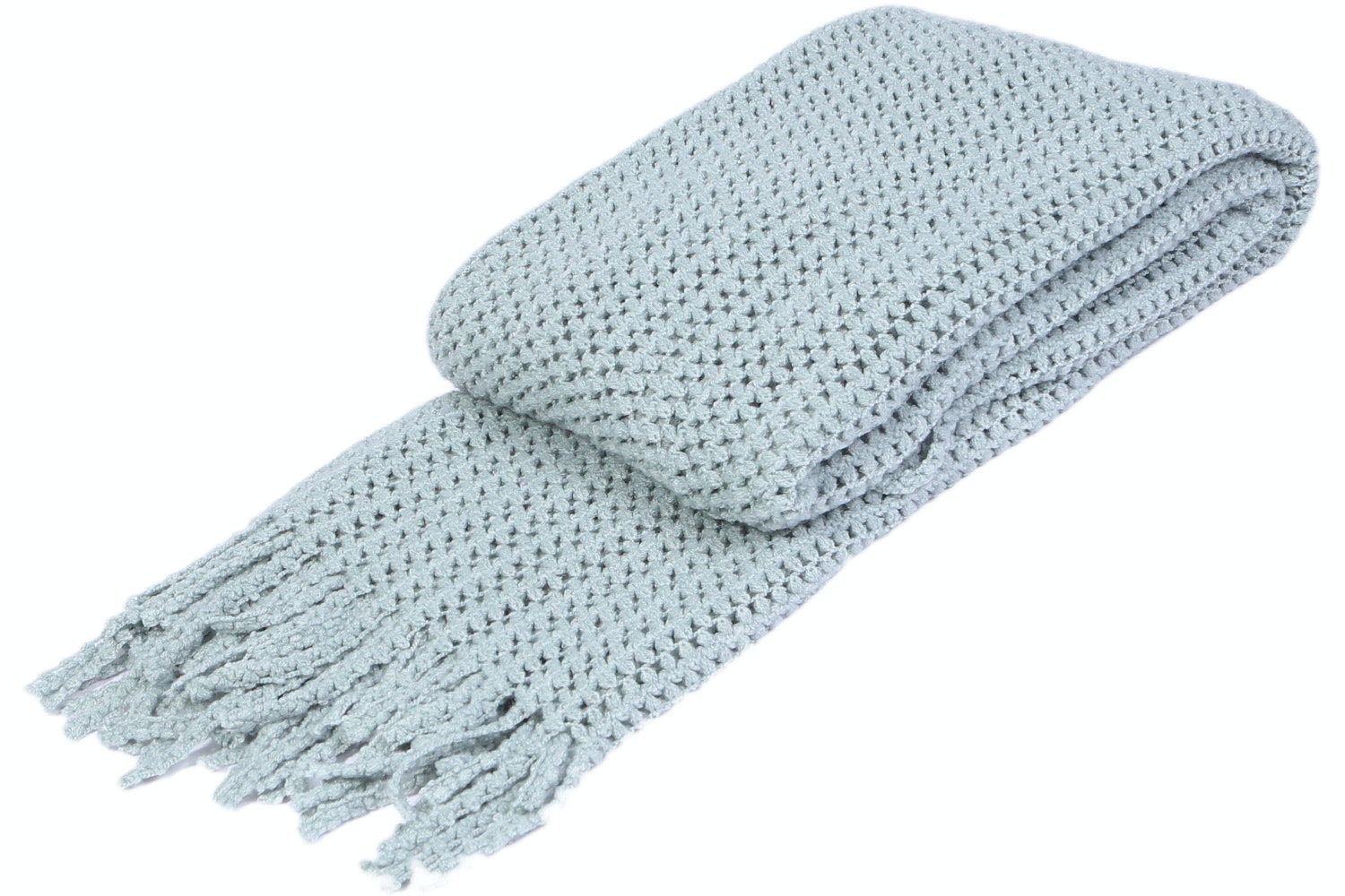 Bubble Knit Throw | Duck Egg