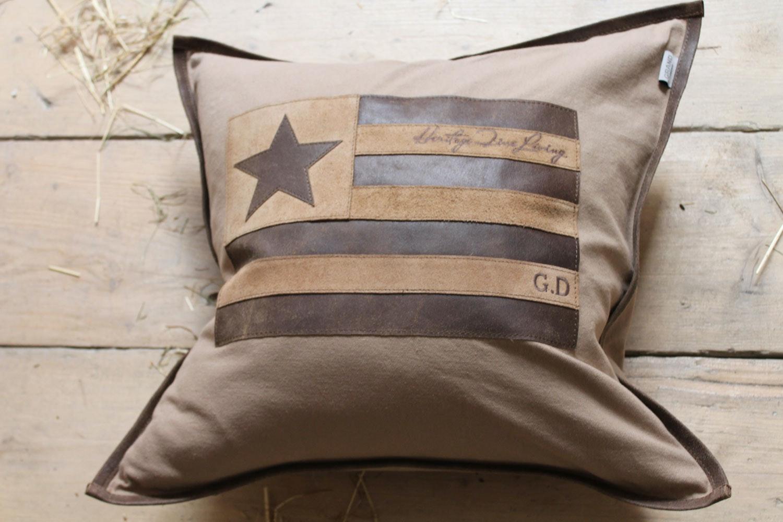 US Leather Star Cushion